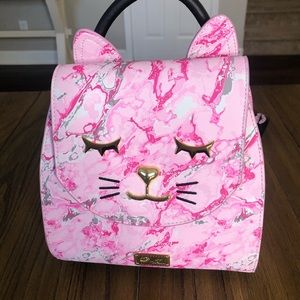 Betsey Johnson marble design kitty backpack purse